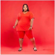Fashion Large Size 5XL Solid Color Casual V-neck Short Sleeve Shorts 2 Piece Set WAF-7143