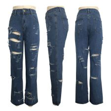Denim Ripped Hole Straight Jeans HSF-2015