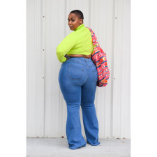Plus Size Fat MM Denim Flared Jeans HSF-2295