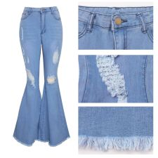 Plus Size Denim Ripped Hole Flared Jeans HSF-2118