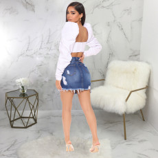 Sexy Denim Ripped High Waist Mini Skirt HSF-2414