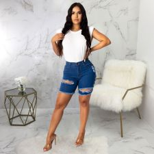 Denim Ripped Hole Skinny Jeans Shorts HSF-2251