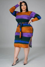 Plus Size Striped Ribbed Long Sleeve Sashes Midi Dress OSM2-5275