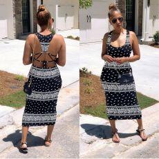 Plus Size Sexy Printed Sleeveless Backless Long Dress SHE-7177
