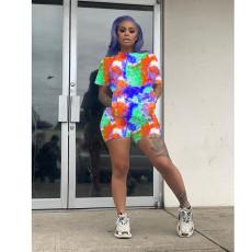 Plus Size Tie Dye Short Sleeve Two Piece Short Sets SHE-7174