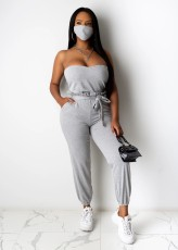 Solid Sashes Tube Jumpsuits Without Mask WUM-2132