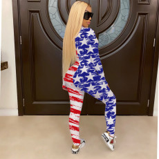 Plus Size Casual Printed Long Sleeve Zipper Jumpsuits SHE-7178