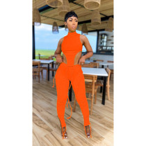 Sexy Solid Sleeveless Two Piece Pants Set IV-8169