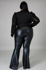 Plus Size Fat MM PU Leather Long Pants OSM2-5274