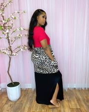 Plus Size Leopard Patchwork Split Short Sleeve Maxi Dress CQ-097