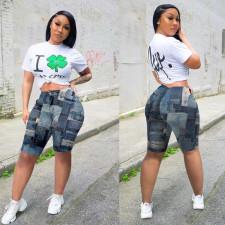 Casual Mid-Waist Printed Shorts NY-2082