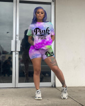 Pink Letter Print Casual Two Piece Shorts Set LQ-001