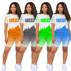 Plus Size Pink Letter Print T Shirt Shorts Two Piece Sets MTY-6503