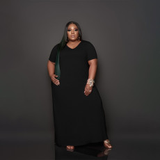 Plus Size Casual Solid Color Short Sleeve Maxi Dress BDF-8056