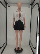 Fashion Sexy Shirt And Pleated Mini Skirt Two Piece Set SMF-8077