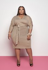 Plus Size Fashion Polka Dot Midi Dress BDF-8055