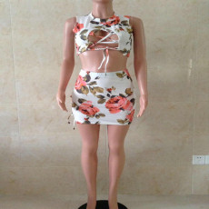 Floral Print Hollow Sleeveless Mini Skirt 2 Piece Sets AWYF-8805