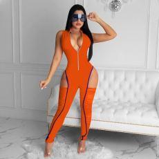 Sexy Sleeveless Zipper Ruched Hollow Jumpsuits MEM-8331