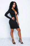 Sexy One Shoulder Hollow Out Mini Dress DYF-1060