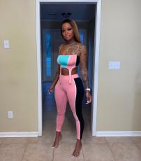 Sexy Contrast Color Cami Top Pants 2 Piece Sets QZX-6195