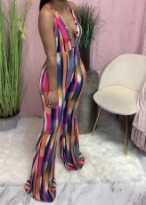 Sexy V Neck Halter Backless Printed Jumpsuits AWN-5200