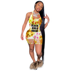Tie Dye Letter Print Halter Backless Rompers AWYF-687