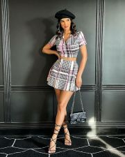 Plaid Print Short Sleeve Mini Skirt 2 Piece Sets XSF-6031