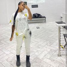 Smiley Print T Shirt Pants Two Piece Sets MN-9287