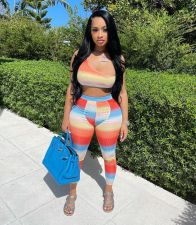 Sexy Gradient One Shoulder Two Piece Pants Set CH-8159