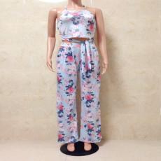 Floral Print Halter Crop Top+Pants 2 Piece Sets AWYF-8803