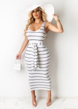 Casual Striped Sleeveless Sashes Long Dress MN-9286