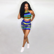 Ribbed Striped Sleeveless Top Mini Skirt 2 Piece Sets SZF-9073