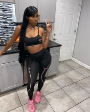 Letter Print Tight Fitness Two Piece Pants Set AWYF-715