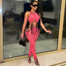 Sexy Printed Lace Up Hollow Out Jumpsuits MDF-5215