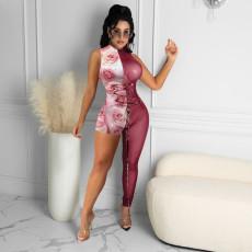 Sexy Mesh Patchwork Asymmetry Sleeveless Jumpsuits NIK-218
