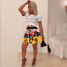 Trendy Cartoon Print Pleated Mini Skirt YNB-7145