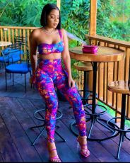 Sexy Printed Tube Top And Pants Two Piece Sets NSFF-8037
