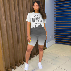 Casual Letter Print T Shirts And Shorts Two Piece Set YSYF-7285