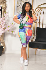 Summer Popular Print Short Sleeve And Shorts Two Piece Set YUF-9059