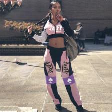 Pink Letter Print Zipper Long Sleeve 2 Piece Pants Set QSF-5061
