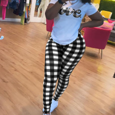Letter Print T Shirt+Plaid Pants Two Piece Sets OMY-0005