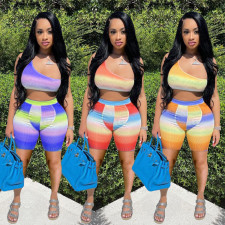 Fashion Gradient Printed Tank Top And Shorts Two Piece Set CQF-945