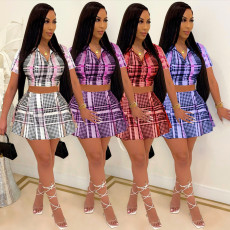Plaid Print Short Sleeve Mini Skirt Two Piece Sets QSF-5056