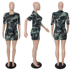 Fashion Camouflage Print Mini Dress YUF-9061