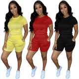 Casual Solid Short Sleeve Two Piece Sets MN-9289