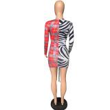 Sexy Patchwork Printed V Neck Long Sleeve Mini Dress LLF-8839