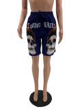 Fashion Casual Skull Print Pocket Shorts QSF-5027