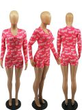 Letter Print Long Sleeve One Piece Rompers FOSF-8043