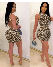 Leopard Sleeveless Backless Lace Up Mini Dress FOSF-8052
