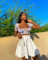 Fashion Sexy One Word Collar Print Top And Skirt Two Piece Sets XYMF-8057